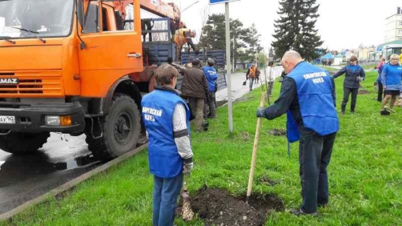 В Мысках заложили Аллею Шахтёров на Первомайской улице