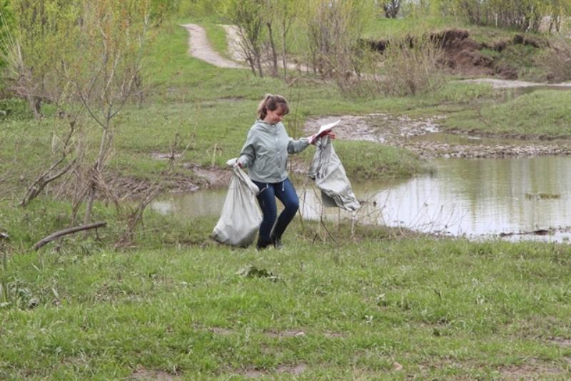На берегу реки Томь в районе Карчита сотрудники заповедника «Кузнецкий Алатау» провели массовую уборку